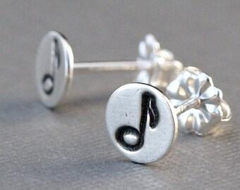 Music Note Jewelry , Music Note Earrings , Sterling Silver Post Earrings