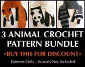 Digital PDF Crochet Pattern Bundle - 3 Crochet Patterns for Animal Scarves - DIY Fashion Tutorial - Instant Download - ENGLISH only