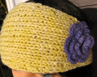 Yellow Alpaca EarWarmer with Crochet Flower, Handknit Winter Headband,