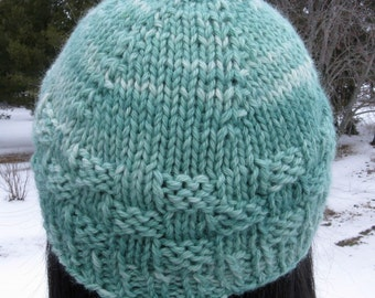 Green Hand Knit Alpaca Hat for Men or Women, Beanie made with Farmgrown, Hand Dyed Yarn