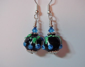 Floral Lampwork Glass Earrings Black with Blue and Swarovski Accents on silver