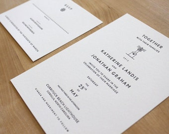Beach Letterpress Wedding Invitation // Lighthouse // An elegant, contemporary letterpress invitation style for a casual seaside wedding