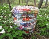 MOTLEY large textile art BASKET HAMPER with lid