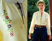 FRIDA 1960's 70's Vintage Cream White Spanish Blouse with Colorful Floral Embroidery size Medium