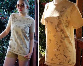 Butterflies 1960's 70's Vintage Tan Beige Polyester Shirt with Butterflies and Flowers by Miss Holly size Small 34