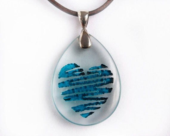Blue Heart - Engraved Glass Pendant - Love is Blue
