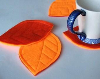 Neon Orange Felt Leaf Coasters (set of 4)