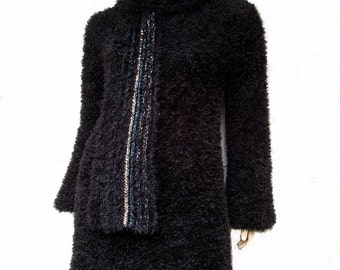 Black soft and fluffy dress with matching scarf