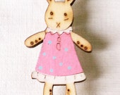 Little Bunny Rabbit Brooch Wood Pin Hand Painted Free Shipping