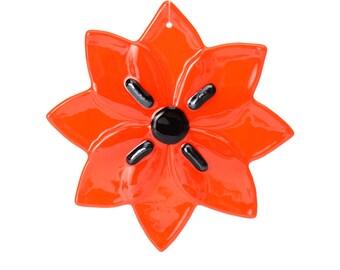 Opalescent Pimento Red Flower, fused glass ornament, sun catcher