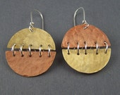 Sterling Silver, Brass and Copper Circle Earrings