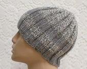 Ribbed beanie hat, silver grey, sweatshirt grey, tweed striped hat, men's hat, women's hat, biker cap, knit hat, ski snowboard hat, toque
