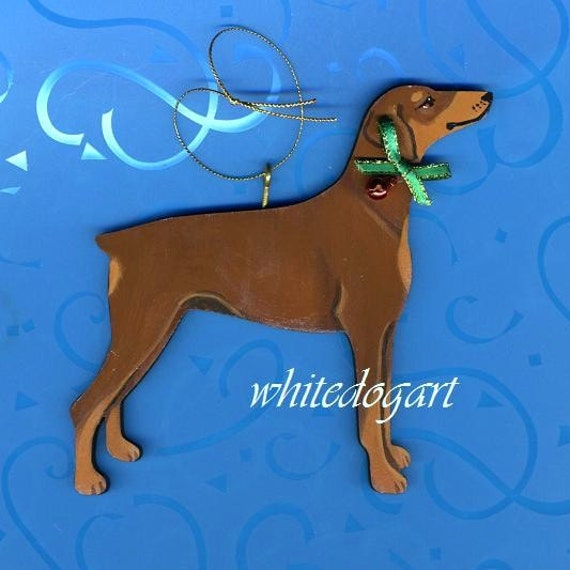Hanpainted Red Uncropped Doberman Pinscher Christmas Ornament