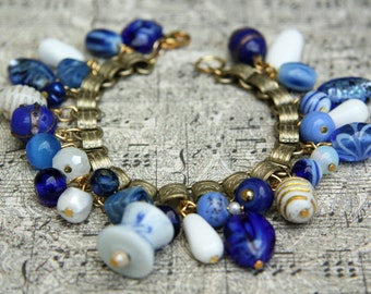 Blue Beaded Charm Bracelet - Asian -  Vintage Blue and White Beads - One of a Kind
