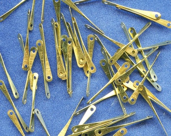 Raw Brass Connectors 2 hole Twisted for Chain, Earrings, Jewelry etc. Lot of (50)  Vintage 3 mm wide x 25 mm long jc trbc MORE AVAILABLE