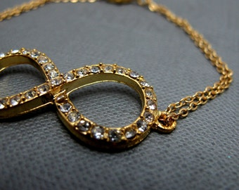 "Gold Rhinestone Paved Infinity Bracelet // Infinity Symbol Charm // 7"" Chain Bracelet // Gift under 20"