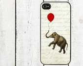 iphone 6 case Elephant with Red Balloon iPhone 4 Case, for iphone 4,4s & iphone 5