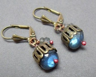 Blue Labradorite Earrings - Arctic Bears on Holiday