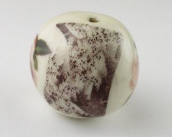 Rose Fractal Iron Oxide Ceramic Bead