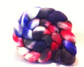 SALE - Firecrackers - Superwash Merino top roving fiber for spinning