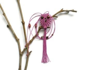 Lilac Macrame Owl Necklace, Pendant, Textile Jewelry, Women, Cute Pendant Necklace, Adjustable, Gifts Under 15, Macrame Jewelry, macraMe