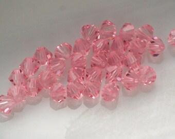 4mm 5301 LIGHT ROSE Swarovski Crystal Bicone Beads (25)