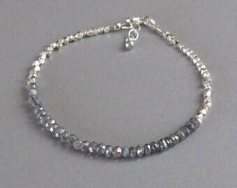 Silver Bead Mystic Labradorite Bracelet DJStrang Dainty Tiny Faceted Handmade Bead Boho Cottage Chic Minimalist Stacking