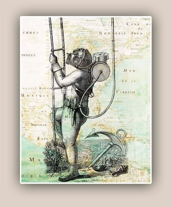 Vintage Nautical Bedding: Items Similar To Nautical Old Diver 11x14 Print Over