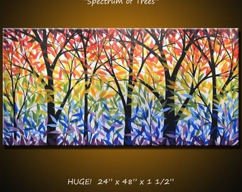 "Art Painting Rainbow Landscape Original Large Abstract Modern Trees ... 24 x 48 .. ""Spectrum of Trees"" by Amy Giacomelli"