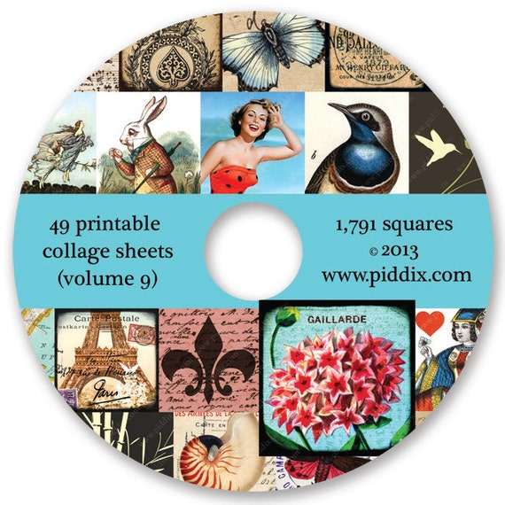 Squares CD Volume 9 -- 1791 Squares on 49 Printable Collage Sheets by piddix -- includes two free bonus sheets