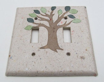 Decorative Tree with Green Leaves Light Switch Plates-Recycled Handmade Paper