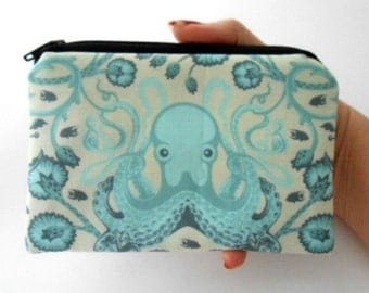 Aqua Little Zipper pouch Coin Purse Gadget Case ECO Friendly Padded Octo Garden