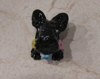 """Scottish Terrier Scottie """"Little Toes"""" European Large Hole Polymer Clay Dog Bead with flowered collar for European Bracelet"""