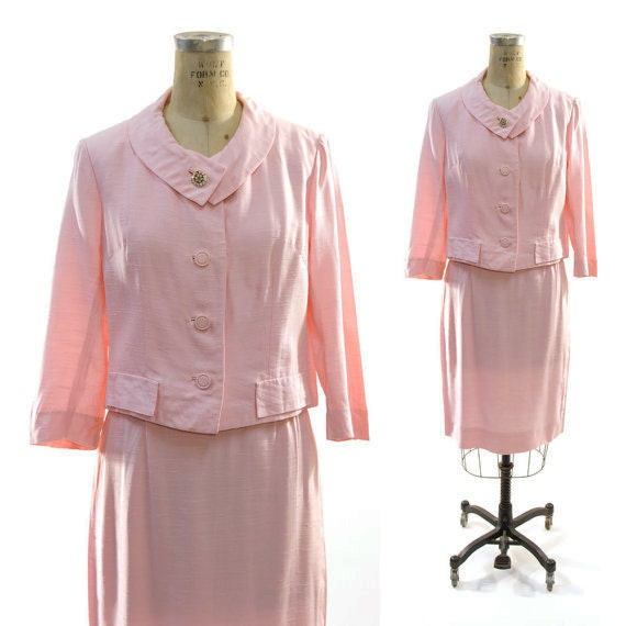 60s Mad Men Skirt Suit in Silky Powder Pink