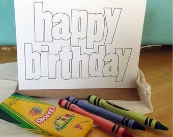"Coloring ""Happy Birthday"" notecards and envelopes - BULK set of 20 (no crayons or fabric bag)"