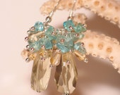 Citrine, Sterling and Apatite Earrings
