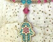 Swarovski Crystals Hamsa Hand Necklace