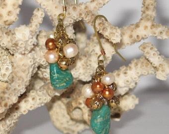 Russian Amazonite Cluster Earrings