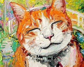 So Happy Smiling Cat in Monet's Garden - print of original oil painting 16x20 inches