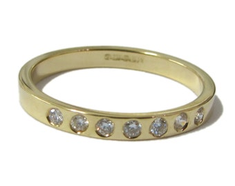 Gold Eternity ring - 18 Karat yellow gold band and diamonds - half eternity diamond band - fine jewellery