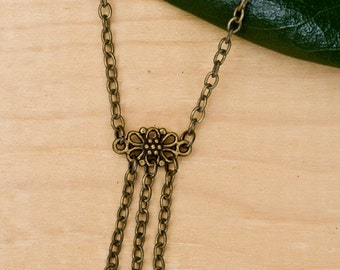 Simple and Delicate Antiqued Bronze necklace with marble beads