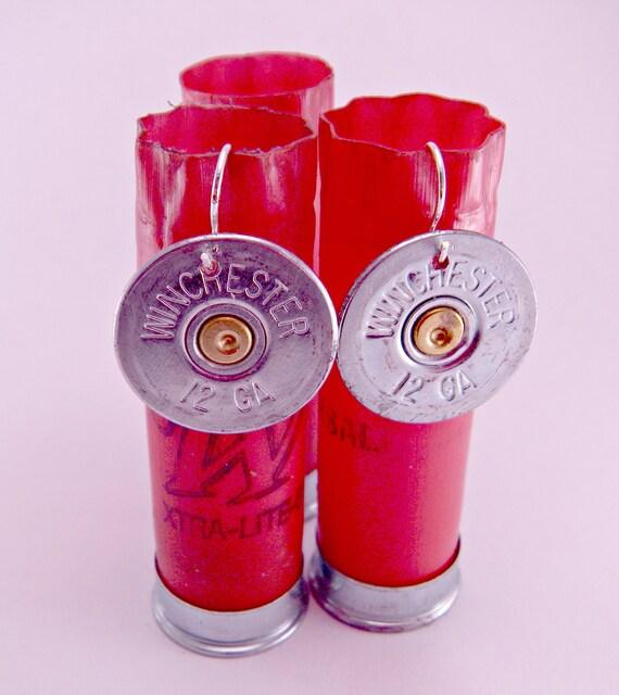 Annie Get Your Gun Winchester 12 Gauge Spent Shotgun Shell Bullet  Earrings