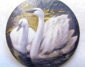 Swans Hand Printed Fabric Covered Button 1.5 inch Diameter