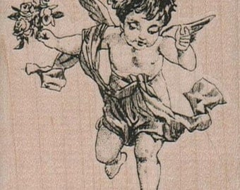 Cherub Bouquet  rubber stamps   wood mounted 9673