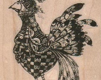 craft rubber  stamp large rooster   steampunk zentangle  art stamps original design by Mary Vogel Lozinak no 19159