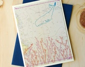 small whale with coral - stitched greeting card