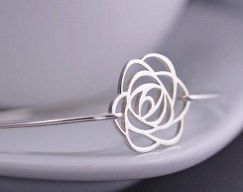 Rose Bracelet, Rose Jewelry, Rose Bangle Bracelet, Sterling Silver Flower Bracelet, Bridesmaid Gift