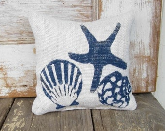 Beach Memories -  Burlap Feed Sack Doorstop  - Shell and Starfish  Door Stop