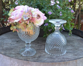 Vintage Clear Glass Compote Set, Pair, Wedding,