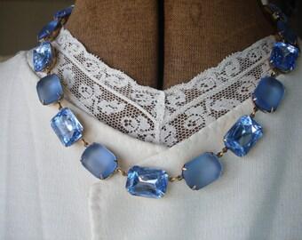 Light Blue Statement Necklace, anna wintour necklace, sapphire blue necklace, sea glass necklace, blue art deco jewelry, collet.